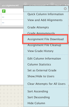 grade center assignment file download