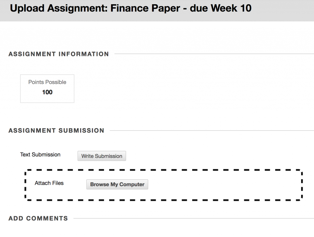 A screen capture of the Upload assignment page in Blackboard.