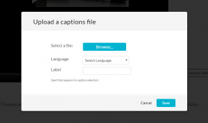 screenshot showing upload a captions file