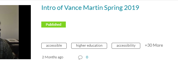 Video title Intro of Vance Martin with corner of video image showing you can select either