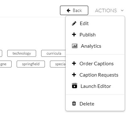 actions dropdown menu, analytics is third option