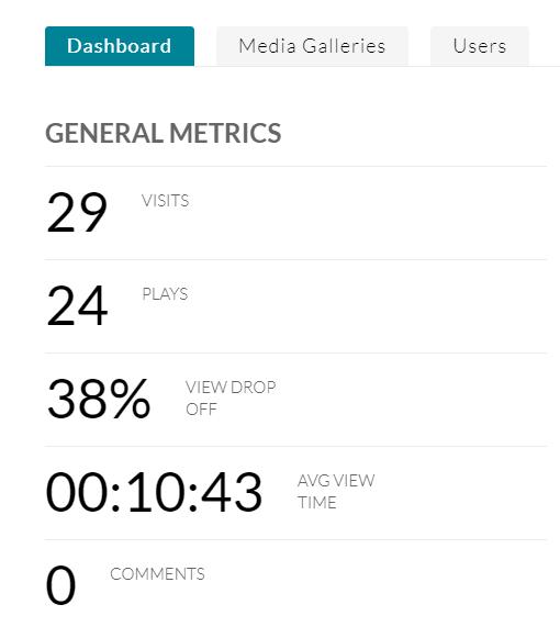 general metrics showing 29 visits, 24 views, 38% dropoff rate, average view time 10:43