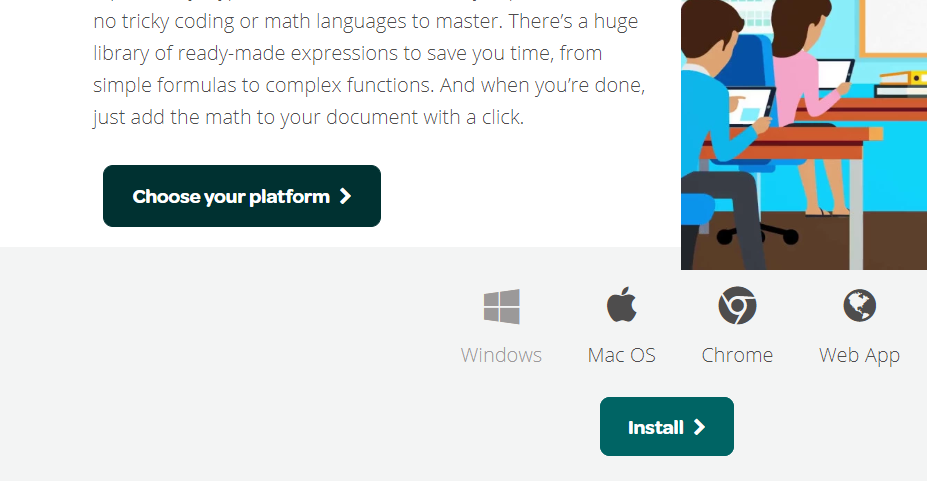 screenshot of the choose your platform button on the equatio website