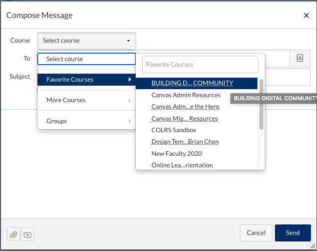 Compose Message in Canvas Inbox