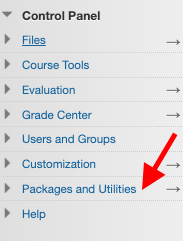 Arrow points to Packages and Utilities in Blackboard