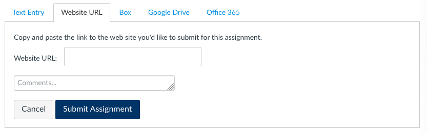 submit Website URL to Canvas Assignment