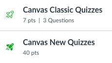 New quizzes in Canvas have a solid green spaceship logo. Classic quizzes have an outlined spaceship logo.