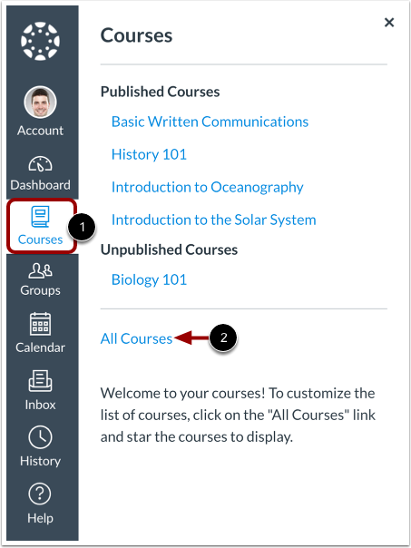 Canvas course menu