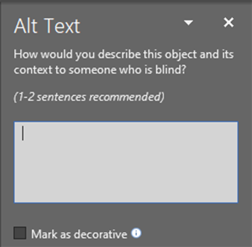 Screenshot of the Alt Text pane in Word 365, with fields for Title and Description and a checkbox to mark the image as decorative.