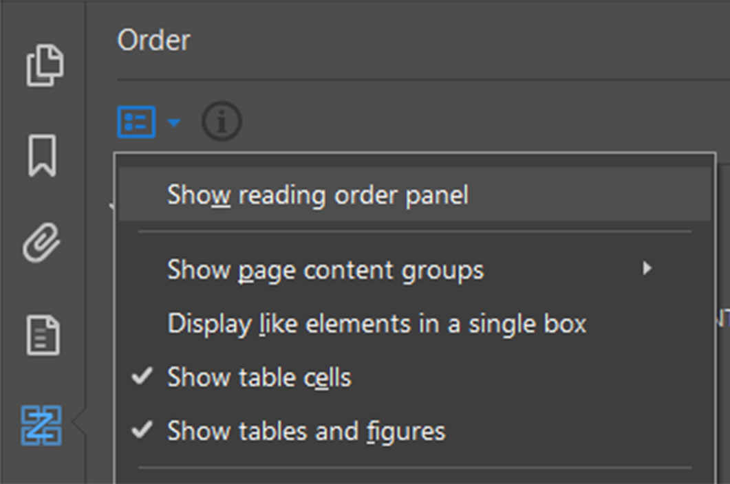 Screenshot of the Order dropdown menu with the Show reading order panel option selected.