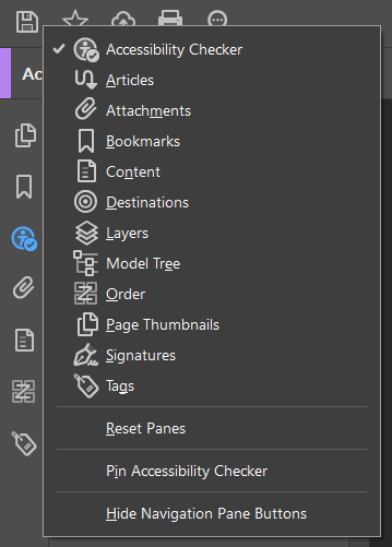 Screenshot of the sidebar items in Acrobat containing Accessibility Checker, Articles, Attachments, Bookmarks, Content, Destinations, Layers, Model Tree, Order, Page Thumbnails, Signatures, and Tags.