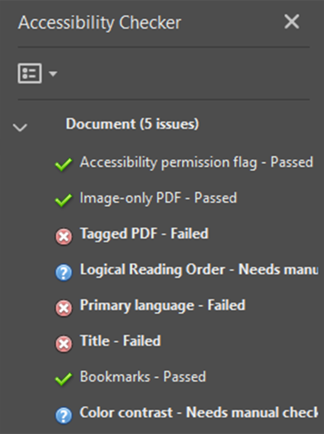 Screenshot of the PDF Accessibility Checker with a failed Tagged PDF error.