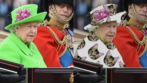 A photo of Queen Elizabeth in a bright green outfit, followed by the same photo of Queen Elizabeth with the green replaced by pictures of kittens on a white background.